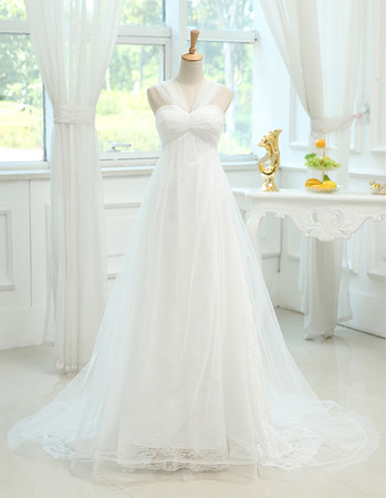 Perfect Empire Sweetheart Tulle Over Lace Wedding Dresses with Pleated Bust