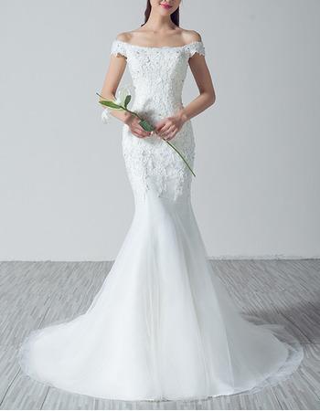 Elegantly Off-the-shoulder Tulle Wedding Dresses with Floral Applique Bodice