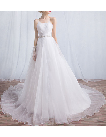 Romantic Ball Gown Strapless Organza Wedding Dresses with Ethereal Crystal Beaded Waist