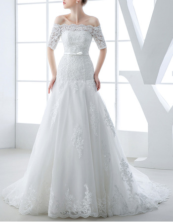 Romantic Off-the-shoulder Organza Wedding Dresses with Short Sleeves