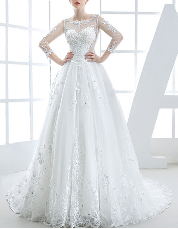 Gorgeous Ball Gown Crystal Applique Tulle Wedding Dresses with Long Illusion Sleeves