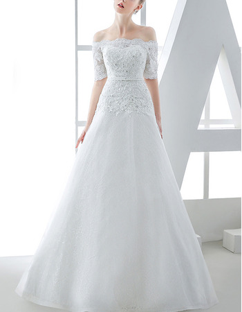 Affordable A-Line Off-the-shoulder Tulle Over Lace Wedding Dresses with Short Sleeves