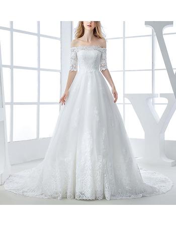 Modern Princess Floral Applique Off-the-shoulder Tulle Wedding Dresses with Half Sleeves