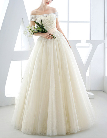 Romantic Off-the-shoulder Full Length Wedding Dresses with Short Sleeves