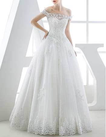 Luxury Beading Appliques Ball Gown Off-the-shoulder Tulle Wedding Dresses