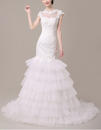 Romantic Lace Bodice Wedding Dresses with Cap Sleeves and Layered Tull Skirt