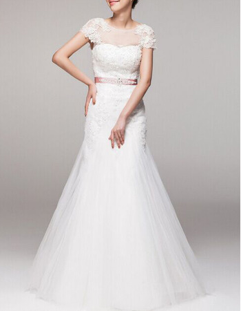 Discount Appliques Illusion Neckline Tulle Wedding Dresses with Cap Sleeves and Belts