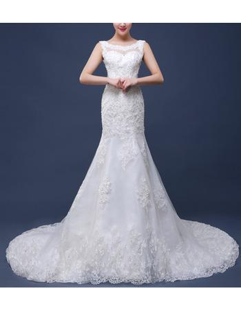 Luxury Beading Appliques Illusion Neckline Backless Wedding Dresses