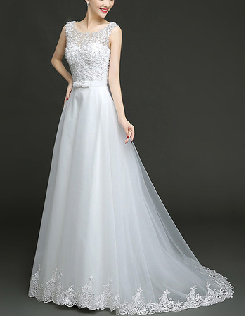 Perfect A-Line Floor Length Tulle Wedding Dress with Lace Appliques Bodice
