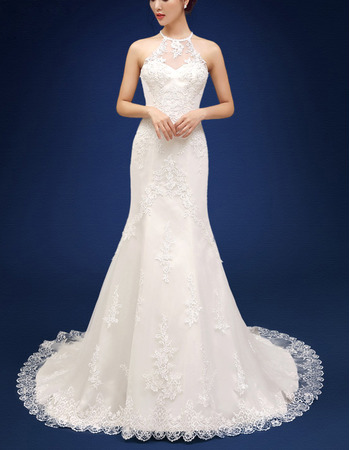 Modern Style Sheath Halter Court Train Organza Wedding Dresses