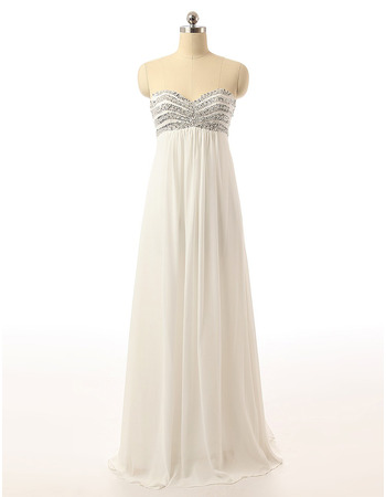 Empire Sweetheart Floor Length Chiffon Evening Dresses