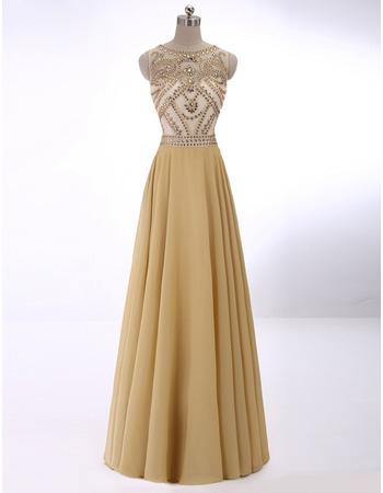 Custom Sleeveless Floor Length Rhinestone Sheer Bodice Evening Dresses