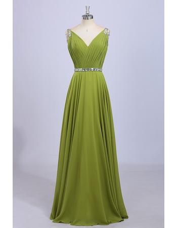 Inexpensive V-Neck Floor Length Chiffon Pleated Bodice Evening Dresses