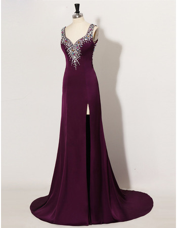 Sexy Sheath Sweetheart Satin Rhinestone Side-Vent Evening Dresses