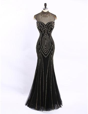 Custom Sheath Sweetheart Long Tulle Black Beading Evening Dresses