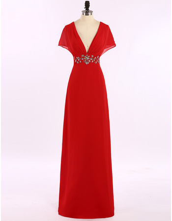 Sexy V-Neck Floor Length Chiffon Evening Dresses with Cap Sleeves