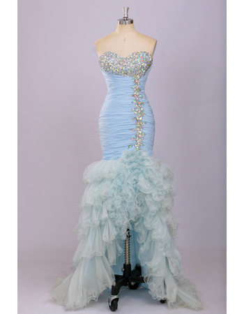 Custom Mermaid Sweetheart High-Low Chiffon Ruffle Evening Dresses