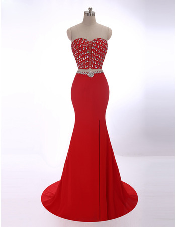 Discount Sheath Sweetheart Sweep Train Two-Piece Evening Dresses