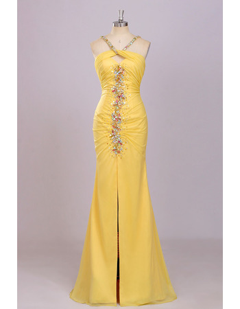 Sheath Halter Floor Length Chiffon Backless Evening Dresses
