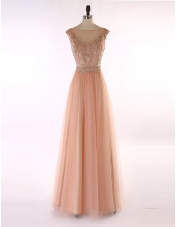 Inexpensive A-Line Sleeveless Floor Length Organza Evening Dresses