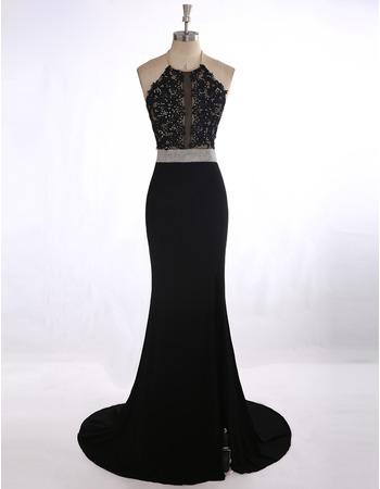 Sexy Sheath Halter Sweep Train Applique Black Evening/ Prom Dresses
