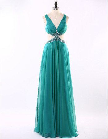 New Style V-Neck Floor Length Chiffon Evening/ Prom Dresses