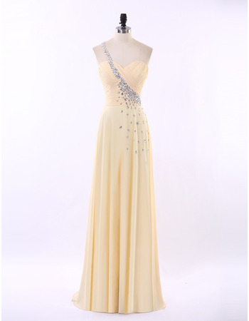 Custom One Shoulder Sweetheart Floor Length Chiffon Evening Dresses