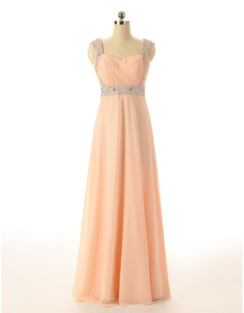 Sweetheart Floor Length Chiffon Evening Dresses with Straps