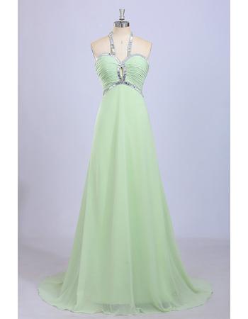 Inexpensive Halter Sleeveless Sweep Train Chiffon Evening Dresses