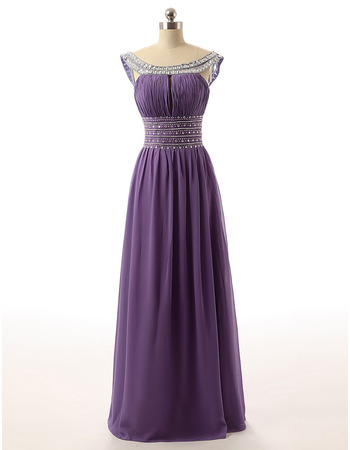 Round Neck Floor Length Chiffon Rhinestone Evening Dresses