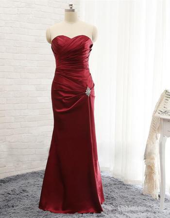 Sexy Sheath Sweetheart Floor Length Satin Pleated Evening Dresses