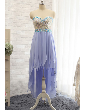 Sweetheart High-Low Chiffon Tasseled Skirt Prom/ Evening Dresses