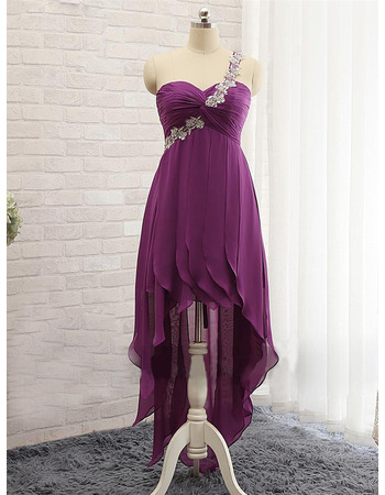 New Style One Shoulder High-Low Chiffon Prom/ Evening Dresses