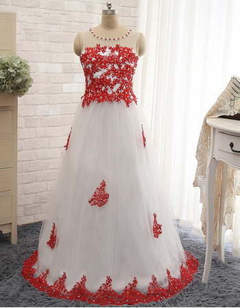 Ball Gown Floor Length Tulle Applique Evening Dresses