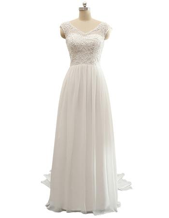 Beautiful V-Neck Floor Length Chiffon Wedding Dresses with Beaded Bodice