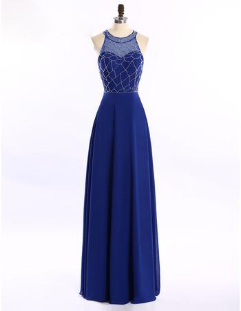 Elegant Round Sleeveless Floor Length Chiffon Evening Dresses