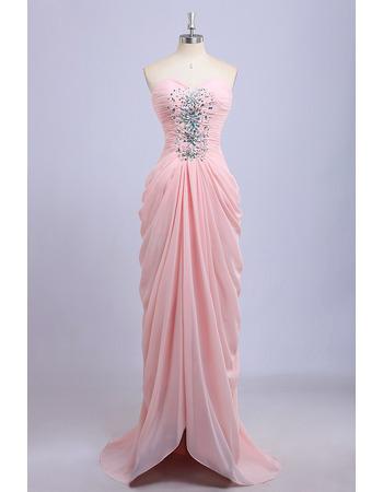 Column Sweetheart Chiffon Pick-Up Skirt Evening Dresses