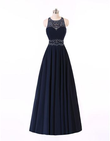 Custom A-Line Sleeveless Floor Length Chiffon Backless Evening Dresses