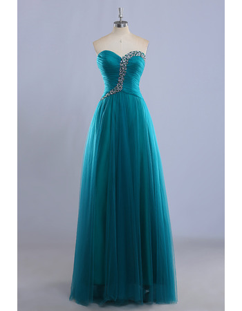 Inexpensive Ball Gown Sweetheart Floor Length Tulle Evening Dresses