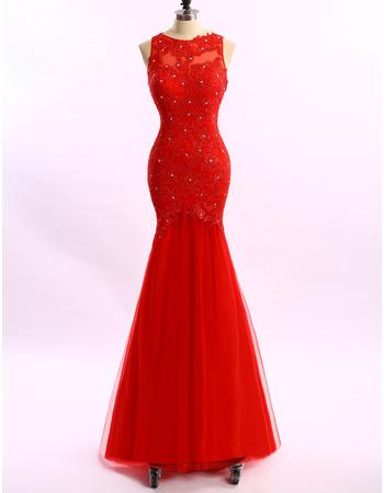 Trumpet Sleeveless Floor Length Applique Evening Dresses