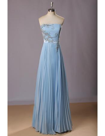 Custom Strapless Floor Length Chiffon Pleated Skirt Evening Dresses