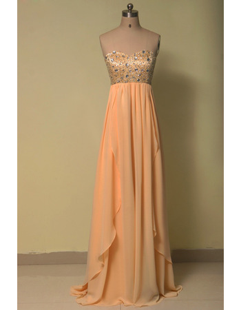 Affordable Empire Sweetheart Floor Length Chiffon Evening Dresses