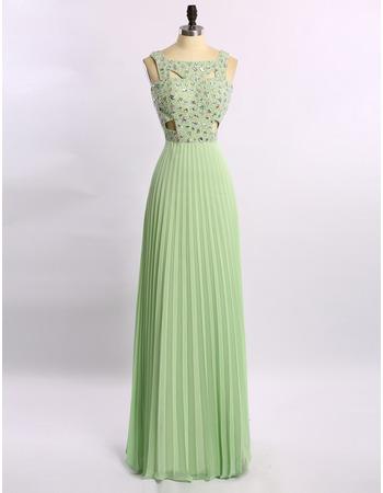 Elegant Floor Length Chiffon Rhinestone Pleated Skirt Evening Dresses