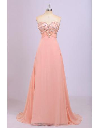 Custom Empire Sweetheart Floor Length Chiffon Evening Dresses
