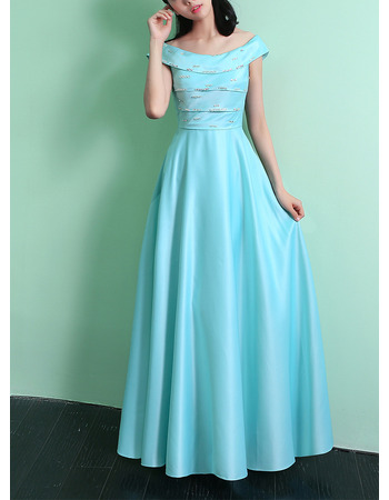Charming Off-the-shoulder Long Length Satin Lace-up Evening Dresses with Beading