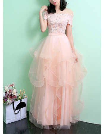 Elegantly Off-the-shoulder Layered Tulle Skirt Evening Dresses with Appliques Beaded Bodice