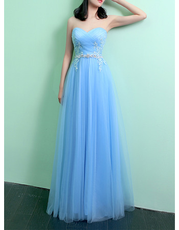 Inexpensive Sweetheart Full Length Tulle Evening Dresses with Beaded Applique Detail