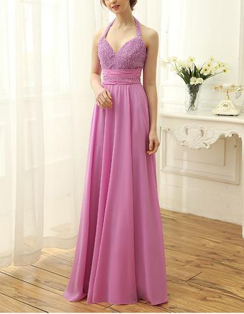 Gorgeous Halter-neck Chiffon Evening Dresses with Beading Embellished Bodice