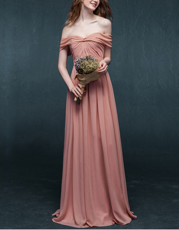 Discount Simple Off-the-shoulder Full Length Pleated Chiffon Evening Dresses