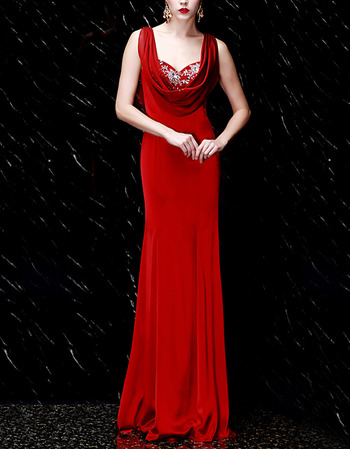 Elegance Beading Appliques Sweetheart Elastic Woven Satin Evening Dresses with Cowl Neck